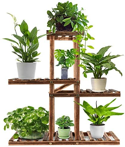 Wood Plant Stand Indoor Outdoor,Plant Shelf Multi Tier Garden Shelf,Plant Shelves Holder Stand Display Higher Lower Wooden Flower Stands for Living Room Garden Corner Patio Yard Balcony
