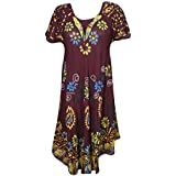 Mogul Interior Womens Sundress Cap Sleeves Floral Tie-Dye Turn On The Charm Flare Hem Swing Loose Fit Beach Cover Up