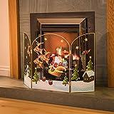 3 Panel Fireguard Fireplace Screen Santa Sleigh Christmas Decoration 49cm x 76cm