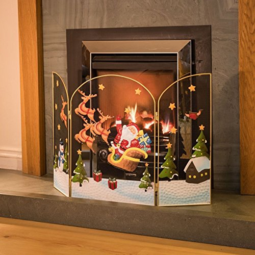 3 Panel Fireguard Fireplace Screen Santa Sleigh Christmas Decoration 49cm x 76cm by Christow Decorations
