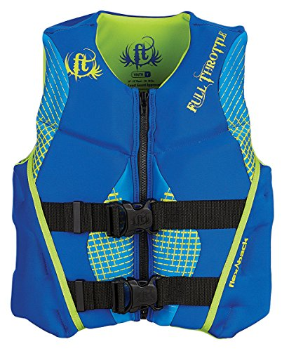 Full Throttle Youth Hinged Rapid-Dry Flex-Back Vest, Blue/Green, Size Youth
