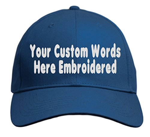 - Custom Hat, Embroidered. Your Own Text. Adjustable Back. Curved Bill (Navy)