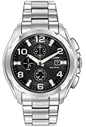 Men's Citizen Eco-Drive Chronograph Stainless Steel with Black Dial Watch CA0271-56E