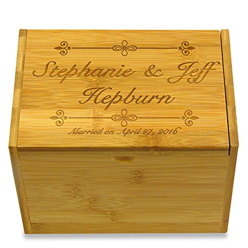 Cookbook People Personally Engraved Bamboo Recipe Box - - Personally Engraved