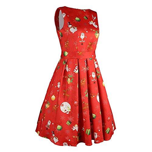 Mujer Vestidos Retro Vestir Sin mangas Vendimia Fiesta Cóctel Noche Impresión Acampanado Oscilación Vestir Mini Vestir Kootk Rojo