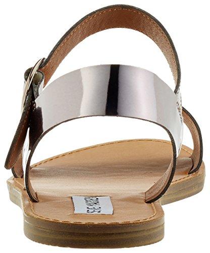 Steve Madden Donddi-m Sandal, Sandalias de Punta Descubierta para Mujer Plateado (Pewter Metallic)
