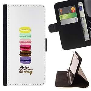 For Samsung Galaxy S6 EDGE (NOT S6) Case , Macarrones Azul Amarillo Rosa púrpura de Brown- la tarjeta de Crédito Slots PU Funda de cuero Monedero caso cubierta de piel