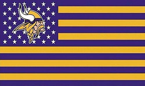 Minnesota Vikings Stars & Stripes FLAG 3 X 5 Feet (Purple)