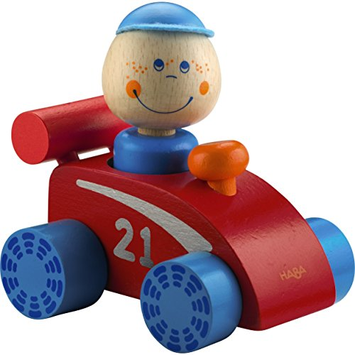 HABAtown Wooden Race Car with Driver for Ages 12 Months and Up Small Wooden Cars