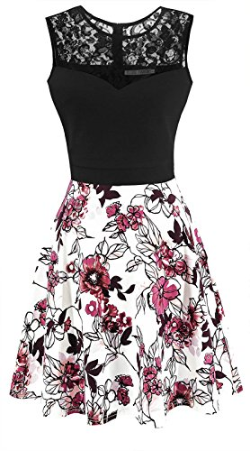 Sylvestidoso Women's A-Line Pleated Sleeveless Little Cocktail Party Dress Black Lace Red Flowers (L, Black Top)