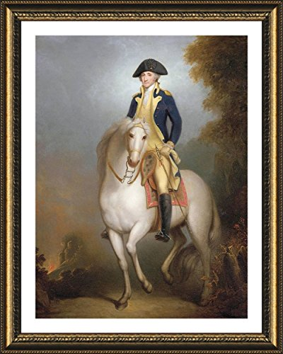 (Alonline Art - George Washington On Horse by Rembrandt | Gold framed picture printed on 100% cotton canvas, attached to the foam board | Ready to hang frame | 21