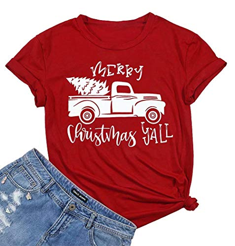 Women's Merry Christmas Y'all Short Sleeve Tshirt Christmas Tree On Truck Funny Holiday Top Tees Size M (Red)