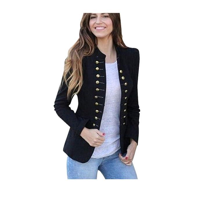 BHYDRY Las Mujeres de Invierno cálido Vintage Tailcoat Chaqueta Sobretodo Outwear Uniforme Botones Capa