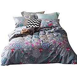 mixinni Luxury Duvet Cover Set Long Staple Cotton Vintage Floral Printed Pattern Design with Buttons Closure and 4 Corner Ties, Easy Care, Fade Resistant - Twin Size