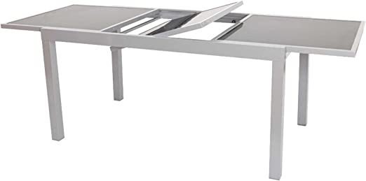 Pisa – Mesa extensible 180/240 × 100 cm, aluminio recubierto, tablero de cristal: Amazon.es: Jardín