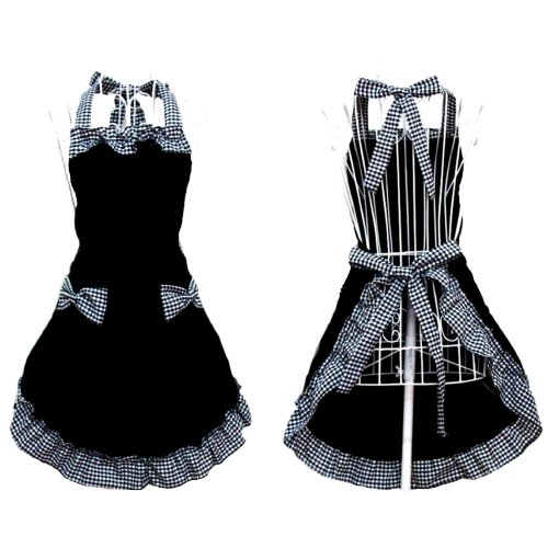 Hanerdun® Womens Apron Ladies Cute Apron Lovely Fancy Maid Set Apron Black Bowknot Apron With Pocket Gift Idea
