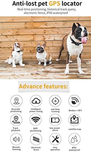 Pet GPS Locator Smart Search Pet Light Pet Tracker Tracker Multifunction Upgrade, Black by PYXZQW Pet tracker (Image #1)