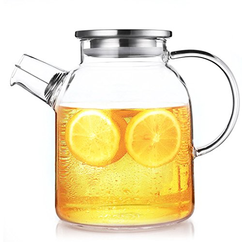 QILEYIN 1600ml /54oz Water Pitcher, Resistant Transparent Glass Kettle Teapot Coffee Juice Jug with Stainless Strainer Functional for Household Cafe Restaurant Kitchen