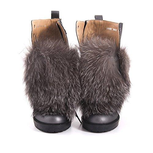 Rouge Kvinder Bekæmpe Støvler Læder Ankel Støvle Med Pels Ægte Læder Ankel Støvle Grå 4pbIxV