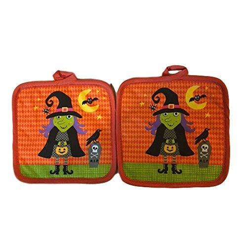 Kids Teen Toddlers Halloween Kitchen Pot Holder Fall Autumn Harvest Spooky Creepy Skull Witch Pumpkin Spider (Girls Twilight Witch Costume)