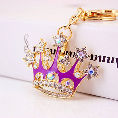 - Shiny Queen Crown Keychain Crystal Blingbling Keyring Rhinestones Purse Pendant Handbag Charm (Purple)