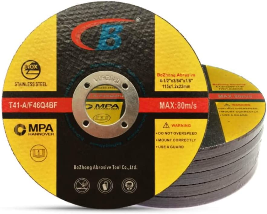 Cut-off Wheel, B, 25-Pack Cutting Wheels Double Reinforced Fiber Flat Grinding Wheel Aggressive Cutting Blades for Metal and Stainless Steel, T41-A/F46Q4BF 4.5