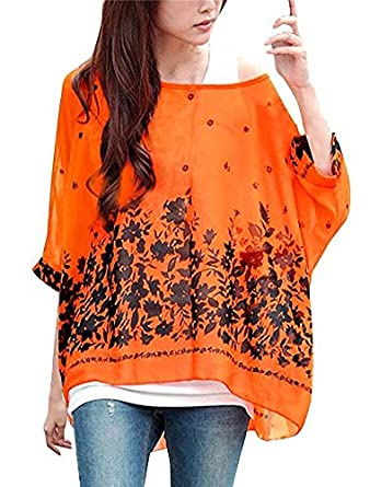 d88f171596e00 OUKIN Women s Bohemian Floral Chiffon Blouse Batwing Sleeve Loose Tops  Tunic (Color1) (Color 1