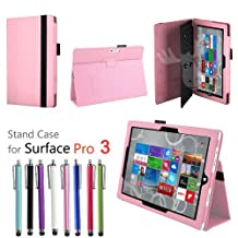 EpicGadget(TM) Premium Folio Folding Stand Formal Business Travel PU Leather Case Cover for Windows Surface Pro 3 Fits with Keyboard + 1 Long Stylus Touch Pen Random Color (US Seller) (Baby Pink)