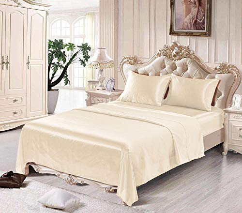Satin Sheets California King [4-Piece, Ivory] Luxury Silky Bed Sheets - Extra Soft 1800 Microfiber Sheet Set, Wrinkle, Fade, Stain Resistant - Deep Pocket Fitted Sheet, Flat Sheet, Pillow - Sheet Ivory Satin