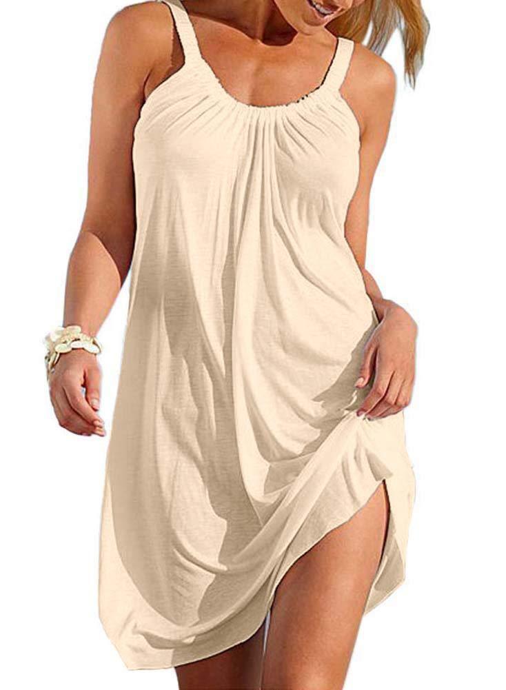 Camisunny Relaxed Summer Beach Dresses Women Bikini Swimwear Cover Ups Plus Size Spaghettic Strap Size XL