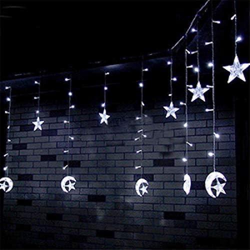 GFSDDS Weihnachtsbeleuchtung Led Mond Sterne Vorhänge Eiszapfen Märchenketten Lichter Weihnachtsdekoration, Weiß, 220V