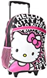 FAB Starpoint Girls 2-6X Hello Kitty 16 Inch Rolling Backpack, Black White Pink, One Size