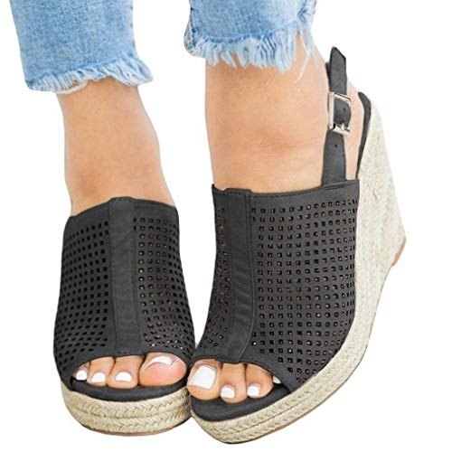 (Womens Perforated Wedge Espadrille Platform Sandals Peep Toe Slingback High Heel Buckle Closure Breathable Summer Sandals (10 M US, Black))