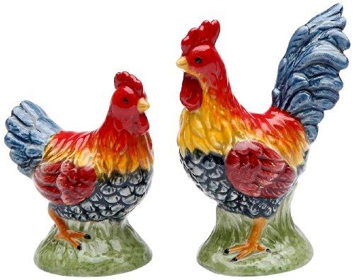 (Appletree Design Barn Yard Rooster Salt and Pepper Set, 2-1/2-Inch,)
