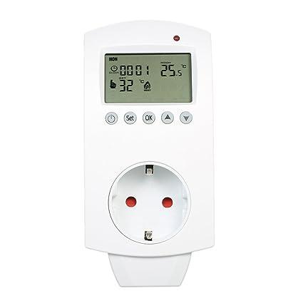 Anself - Programable Termostato Inalámbrico Eléctrico de LCD Pantalla, Controlador de Temperatura para Calefacción de