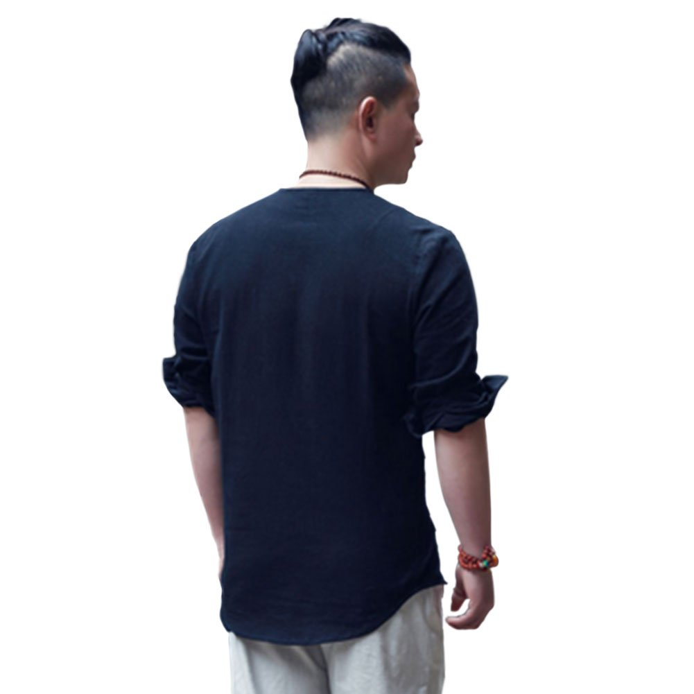 Meijunter Men Breathable Round-neck Long-sleeved Loose Cotton Shirt Chinese Tops
