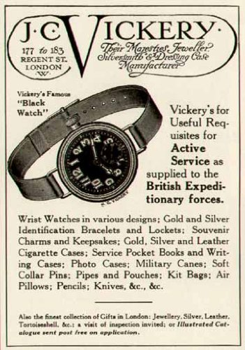 1918-ad-for-the-black-watch-wristwatch-by-jc-vickery-original-paper-ephemera-authentic-vintage-print