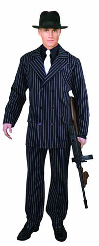 Charades Men's 6 Button Gangster Suit, Black/White, Large