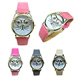 Womens Quartz Watch COOKI Clearance Cat Analog Female Watches Lady Watches on Sale Leather Watch-H82