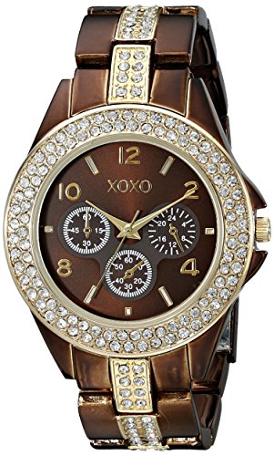XOXO Women's XO5455 Rhinestone-Accent Chocolate Brown Analog Bracelet Watch Tt Gold Dial