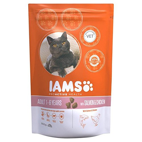 Iams Adult Dry Cat Food Salmon 800g (PACK OF 6) by Iams