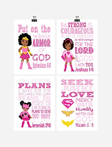 African American Christian Superhero Set of 4 - Nursery Wall Art Print - Supergirl, Batgirl, Wonder Woman - Multiple Sizes by Pixie Paper