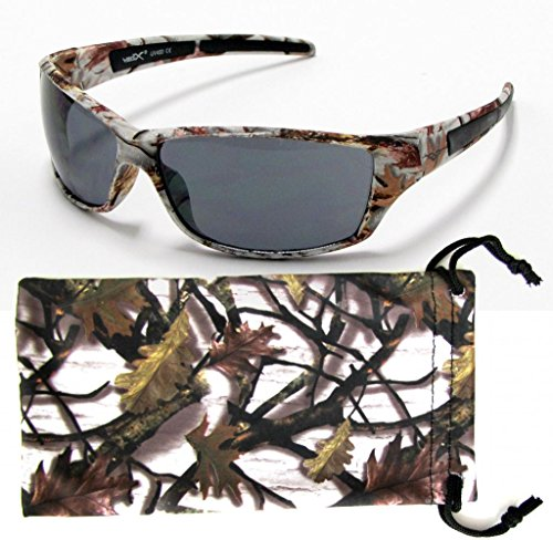 VertX Mens Sport Camouflage Sunglasses Fishing Hunting Outdoor Free Micorfiber Camo Pouch – White Snow Camo Frame – Smoke - Snow Camo Sunglasses