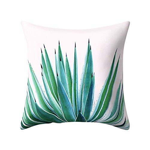 wintefei Modern Multicolor Tropical Leaves Print Sofa Bed Throw Pillow Case Cushion Cover -6#