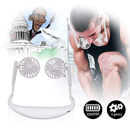 TOA Small Fan Portable Fans Portable Mini Portable Fan Hands Free Fan USB Charging Fan Neck Fan Easy to Adjust Direction. Suitable for Jogging, Cycling, Outdoor, Working, Traveling (White)