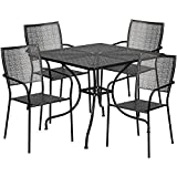 "Flash Furniture 35.5"" Square Black Indoor-Outdoor Steel Patio Table Set with 4 Square Back Chairs For Sale"