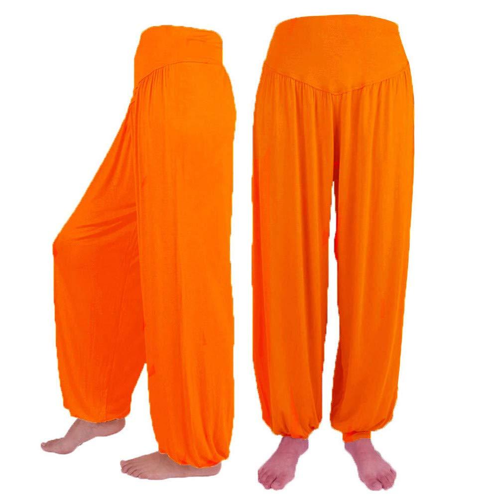 QIBOOG Women Summer Casual Loose Elastic Waist Harem Pants Yoga Bloomers Pants Plus Size Solid Color Trousers Leggings