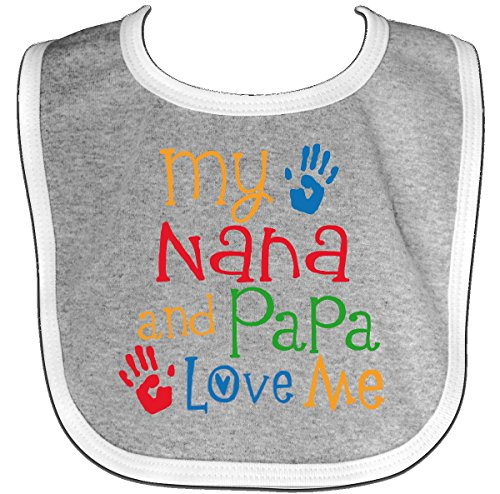 Inktastic - Nana And Papa Love Me Grandchild Baby Bib Heather/White