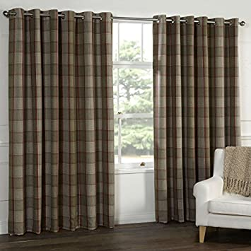 WOOL Touch Heavy Lined TARTAN Tweed Plaid Curtains Red Natural PATIO LIVING This Size 90x90