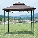 BestMassage 8' x 5' Grill Gazebo Steel Frame Outdoor Backyard BBQ Grill Gazebo with 2-Tier Soft Top Canopy